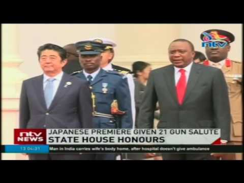 Japanese premiere given 21 gun salute at State House