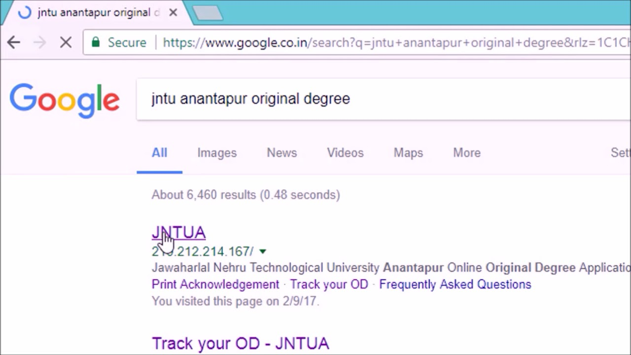 Jntu original degree application form download