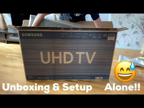 Samsung 55-inch 4K UHD Smart TV UE55RU7105 (2019) Unboxing And Setup!