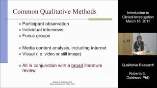 Qualitative Research for Public Health and Clinical Investigation