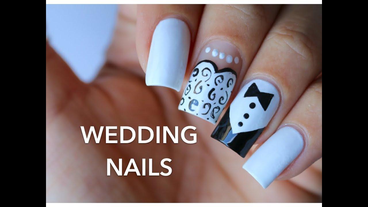 Simple Wedding Nail Art Banicured Youtube