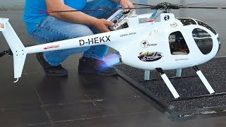 GIANT RC TURBINE HELICOPTER INDOOR FLIGHT HUGHES 500D / Fair Leipzig Germany 2016