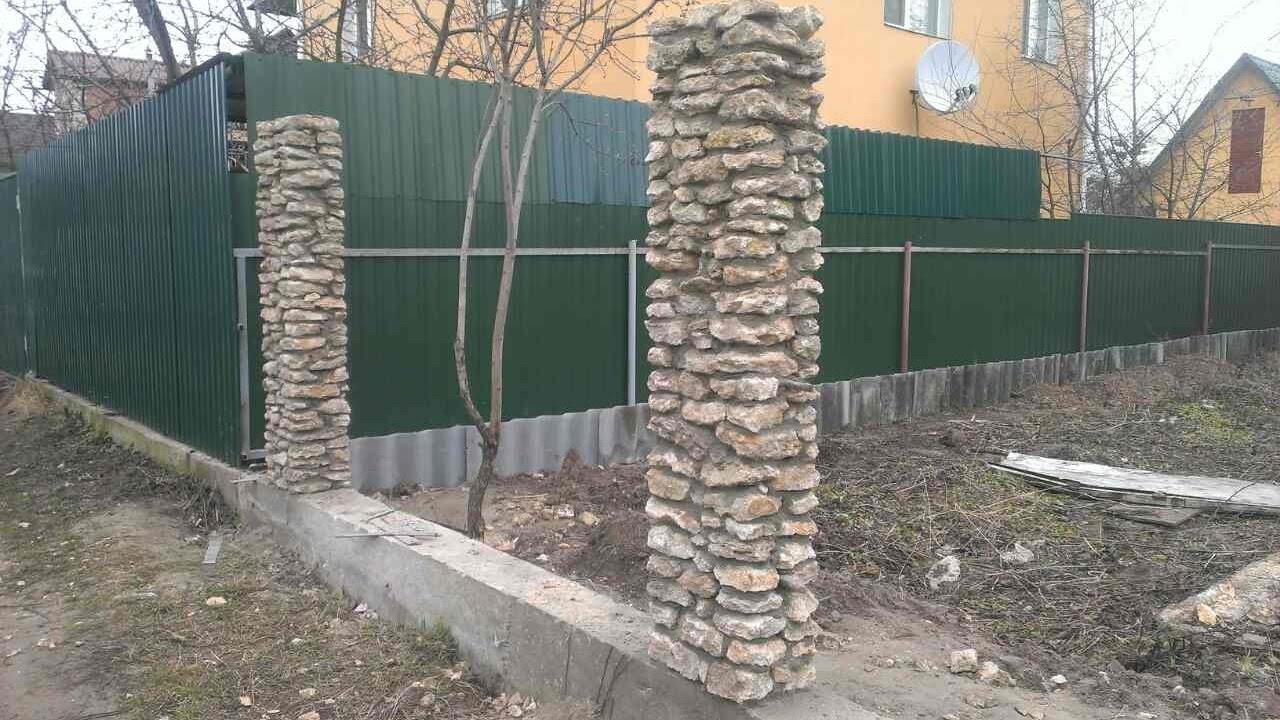 Забор из камня в сетке своими руками фото 753