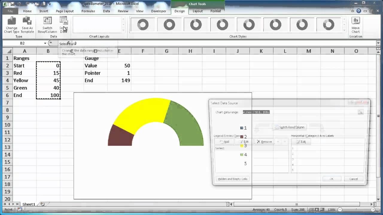 Create a speedometer chart in excel 2010 youtube alramifo Image collections