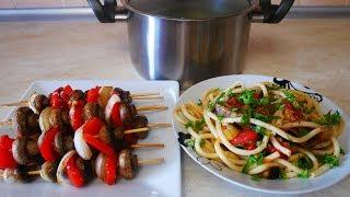 Легкий ужин БЕЗ МЯСА Шампиньоны на шпажках в духовке Спагетти или макароны с баклажанами в томате