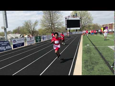 Hannibal Middle School students sprint during Special Olympics