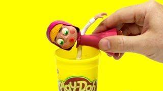 Masha dress up Police costume + Superhero Play Doh Cartoons & Stop Motion Movies for kids