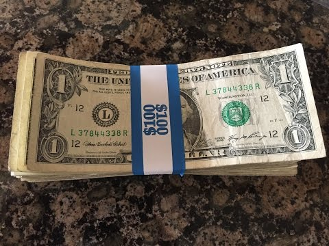 PMC 55027 Color-Coded Kraft Currency Straps, Dollar Bill, $100, Self-Adhesive, 1000/Pack