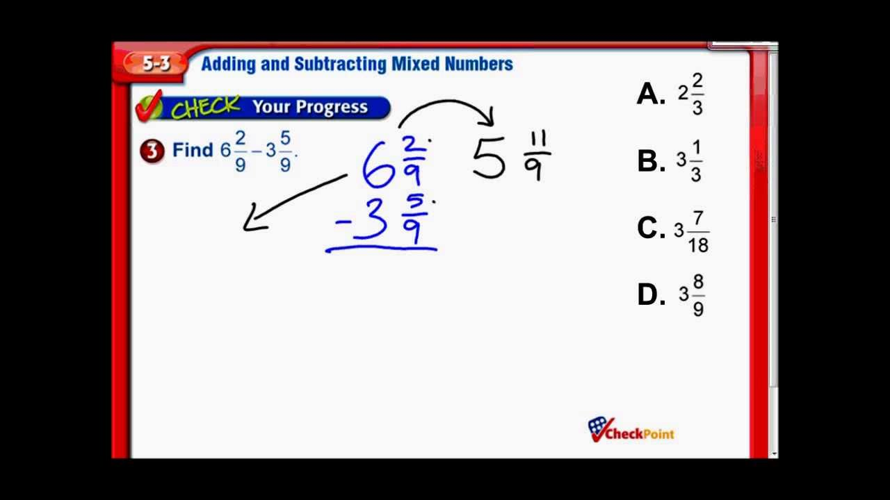 hight resolution of Add \u0026 Subtract Mixed Numbers - Middle School Math - YouTube