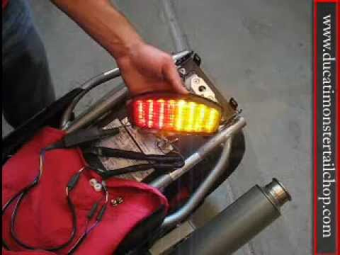 Ducati Monster Integrated tail light LED install - YouTube