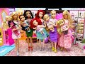 Disney Princesses Toddlers Dress Up Barbie Fashion Cosmetic Boutique Ariel Jasmine Royal Costumes