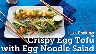 Crispy Fried Egg Tofu with Rice Noodle Asian Salad by Kwanghi Chan