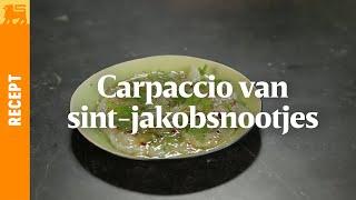 Carpaccio van sint-jakobsnootjes met tuinkruiden en citroendressing