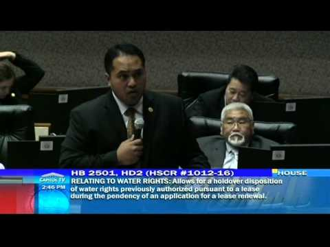 Rep. Pouha supports HB 2501 the study for  Water Rights