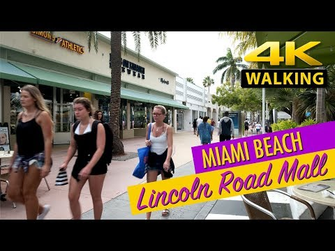 4K 60p  Miami Beach - Lincoln Road Mall, Walking Tour (2019)
