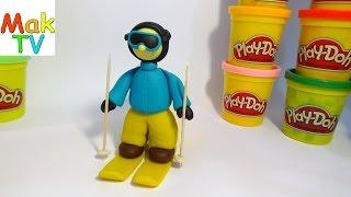 как сделать лыжника из пластилина своими руками How to make a skier from Play-Doh modeling clay