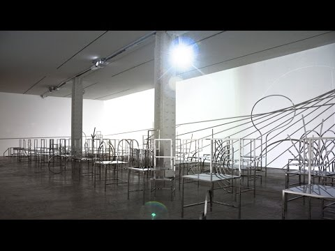 Nendo shows 50 Manga Chairs among light installation at New York's Friedman Benda