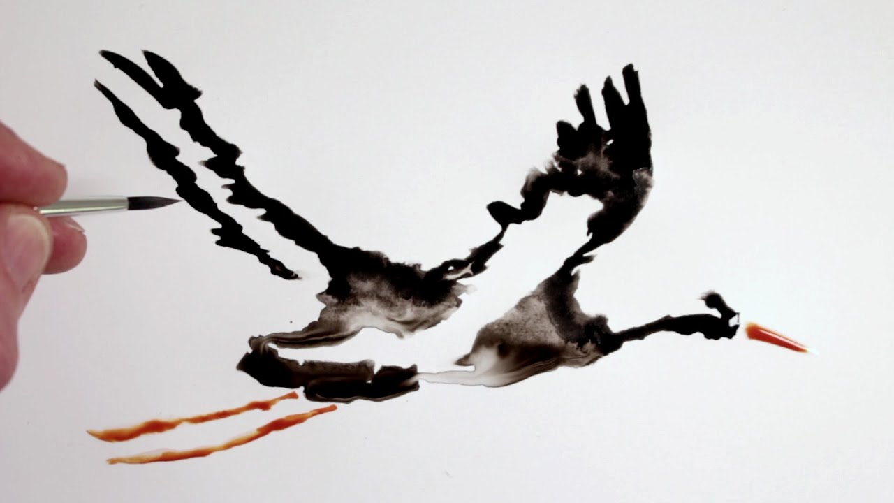 Easy Line Drawings Of Animals : How to draw ink drip painting of a stork youtube