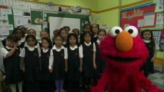 Elmo & Girls Prep Bronx sing the Girls Prep Cheer!
