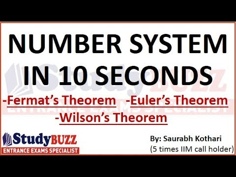 Quant tricks- Number System in 10 seconds | Wilson's Theorem | Euler's Theorem | Fermat's Theorem