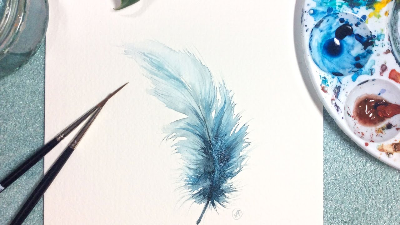 watercolor blue feather real