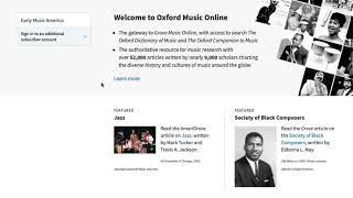 Accessing Grove Music Online as an EMA Member Benefit