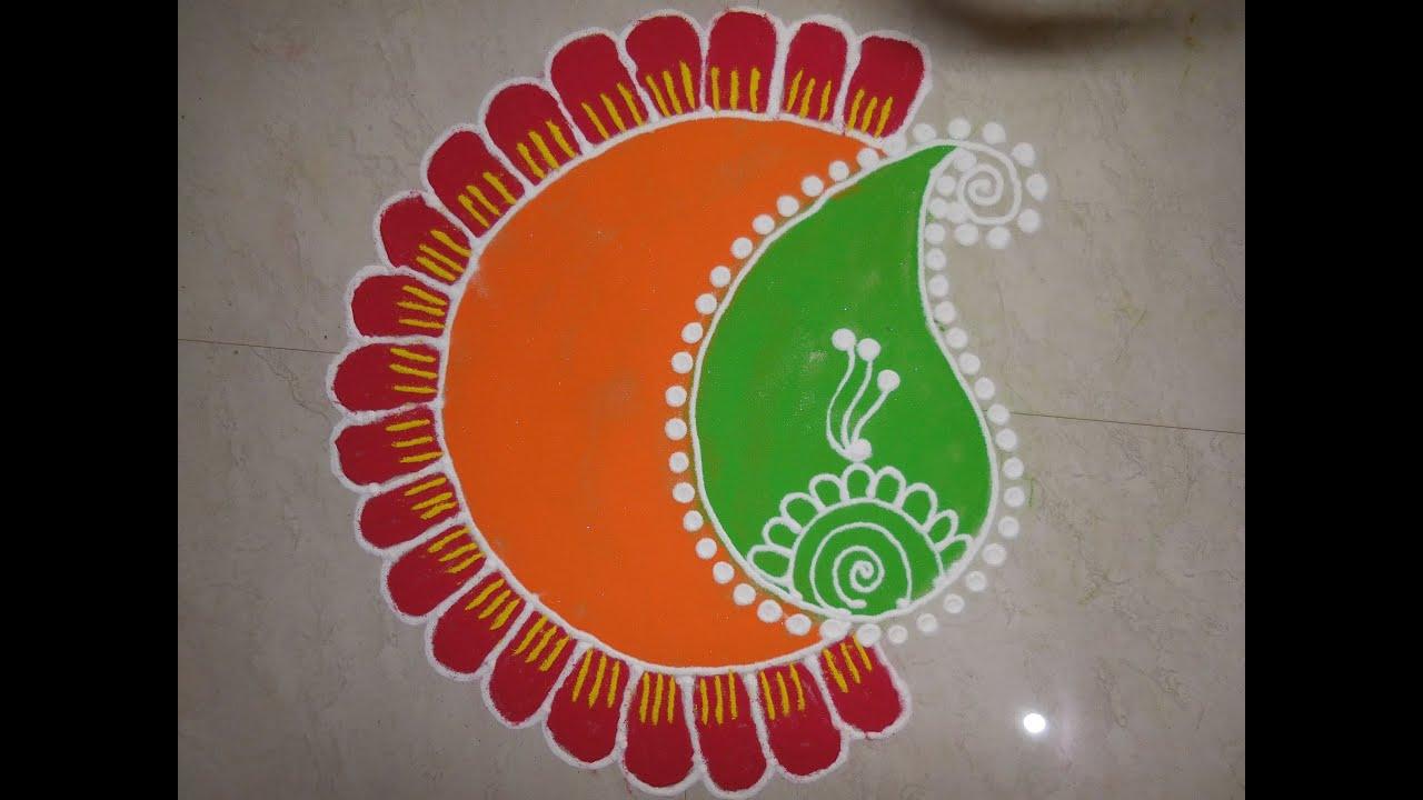 Diwali Special - Freehand Rangoli Design (NEW) - YouTube