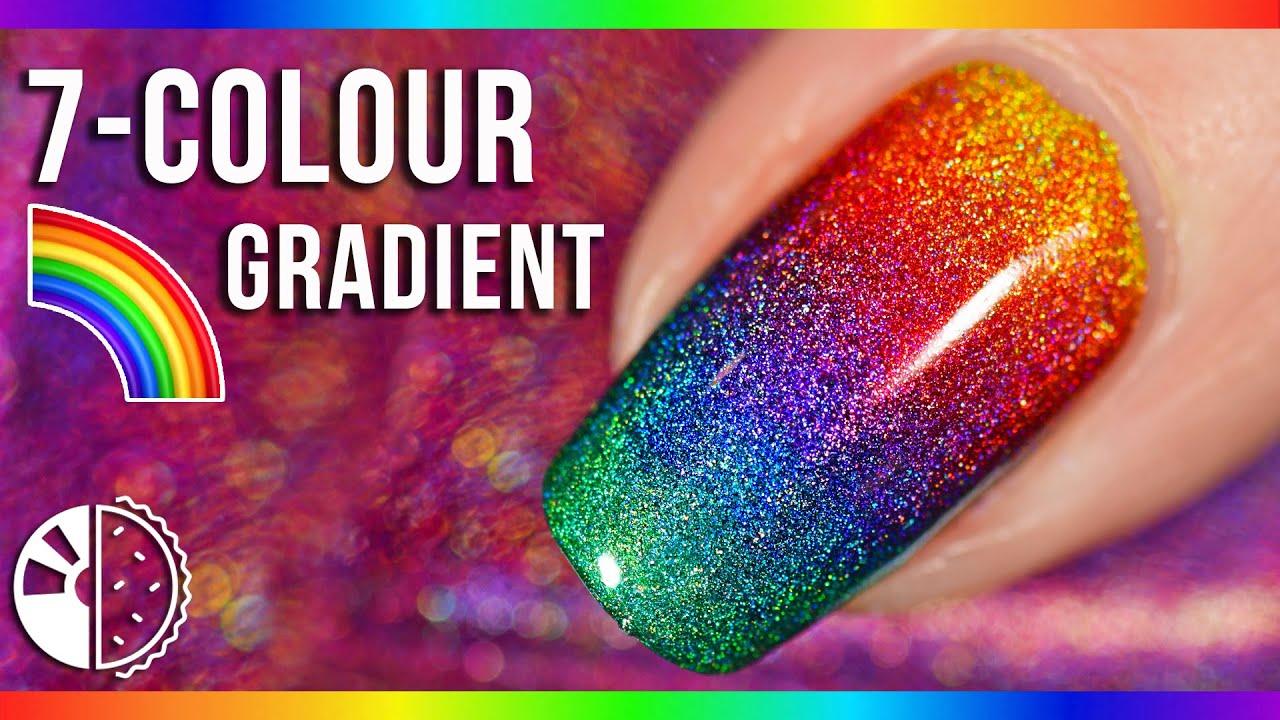 Rainbow Gradient Nail Art Using Linear Holo Polish🌈