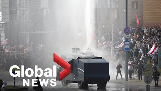 Belarus protests: Police use water cannon as demonstrations near 2-month mark
