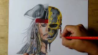 Desenhando (drawing) Jack Sparrow - Piratas do Caribe