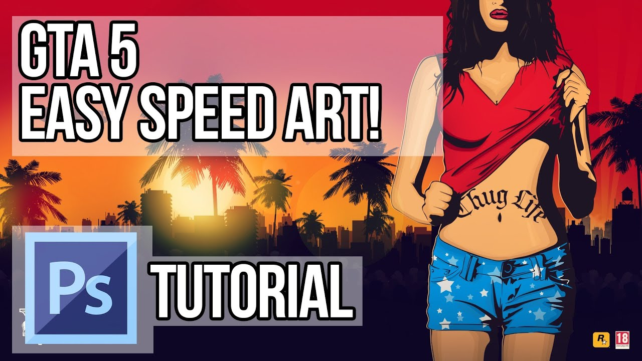 Gta San Andreas Wallpaper Hd Gta 5 Photoshop Tutorial Speed Art Easy Hd Youtube