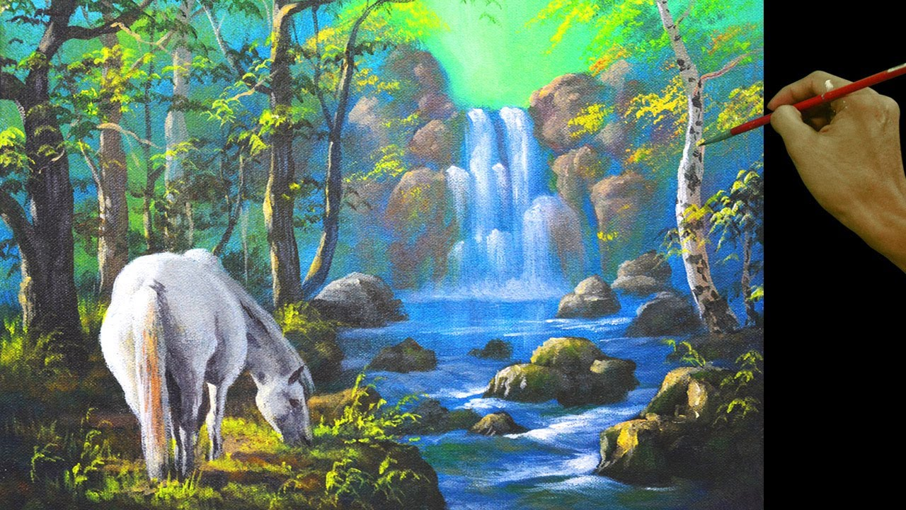 Fall Wallpaper Horses White Horse And The Waterfall In Easy Step By Step Full
