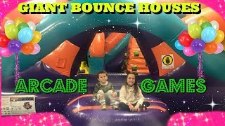 Giant Bounce House- Kids Playing Arcade Games winning AWESOME PRIZES