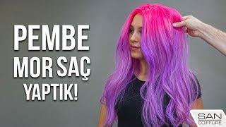 PEMBE MOR SAÇ BOYAMA!  ( Pink Hair Purple Hair Pembe Saç )