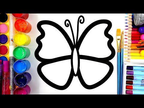 Colouring Butterfly 3 Styles Coloring Pages with Paint and Watercolor | Learn to Color 💜(4K)