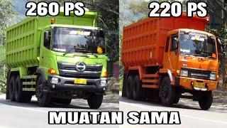 2 Dump Truck Hino Dan 1 Dump Truck Fuso Full Muatan Batu Ditanjakan