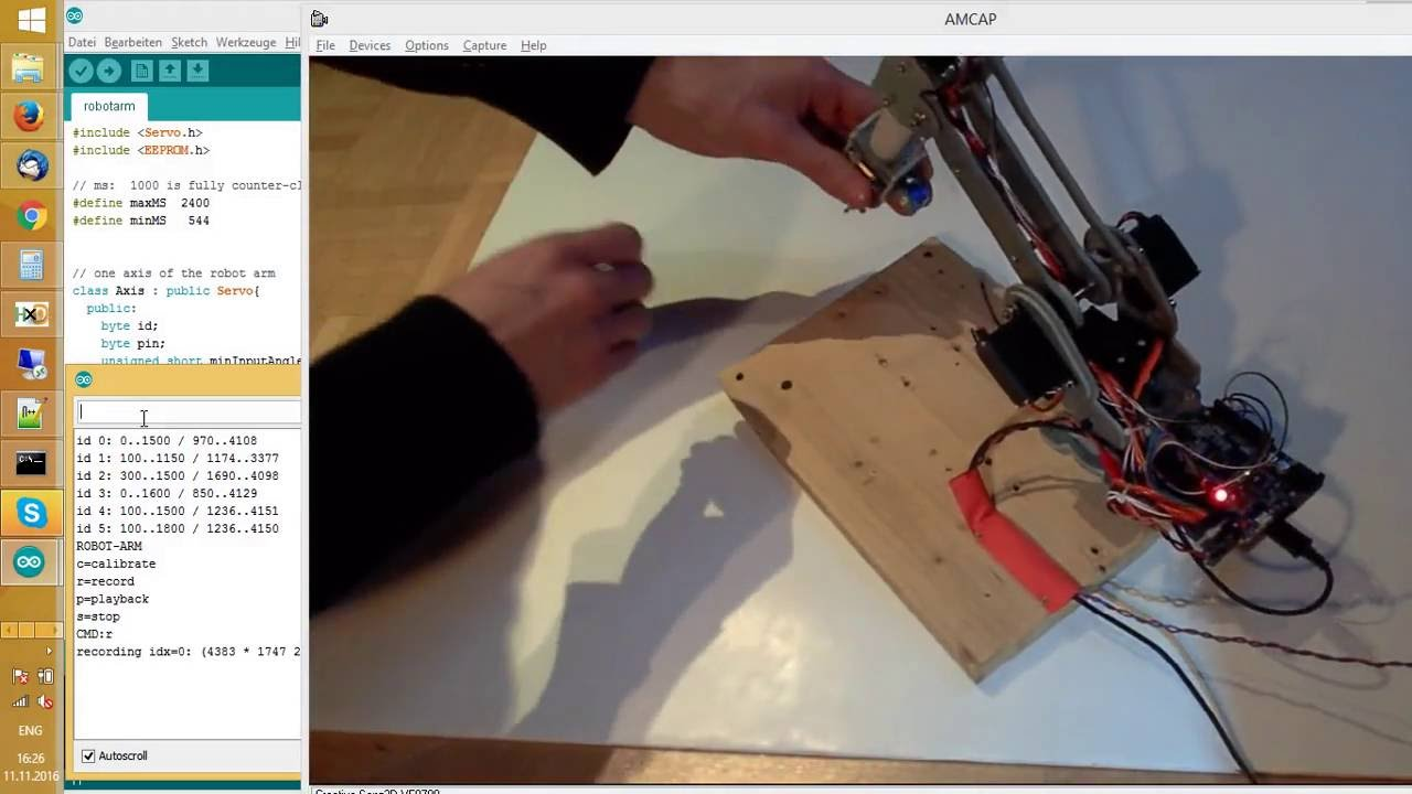 Teach 'Arduino 6-axis robot arm' new positions with your hands (recording  and playing back)
