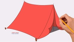 How to Draw a Camping Tent Step by Step | Coloring Page, Drawing Learn Colors For Kids