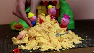 Bajka Świnka Peppa po polsku Kuzynka Świnki Peppy, George i Peppa idą na plaże - piasek kinetyczny
