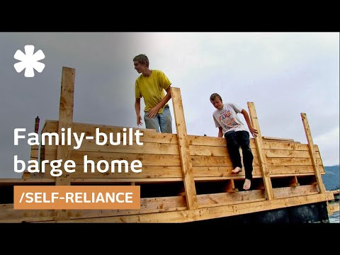 """Oregon """"teens + dad"""" team build floating barge home-workshop"""