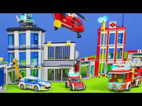 LEGO POLIZEI & FEUERWEHRMANN Kinderfilm: Feuerwehr Spielzeugautos für KINDER   LEGO Episode deutsch