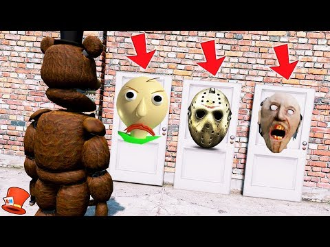 GUESS WHICH DOOR SINISTER FREDDY WILL CHOOSE! (GTA 5 Mods For Kids FNAF RedHatter)