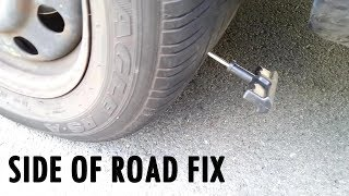 Screw Puncture Flat Tire Plug Fix on Side Of The Road