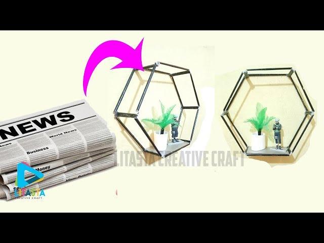 Ide kreatif dekorasi kamar dengan rak hexagonal dari koran bekas   DIY ROOM DEKOR