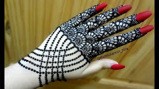 DIY Beautiful trendy simple henna glove jewelery ornamental mehndi designs for hands for eid,party
