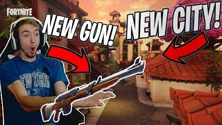 NEW GUN AND NEW CITY Fortnite Battle Royale Gameplay! (Hunting Rifle NOSCOPE?!)