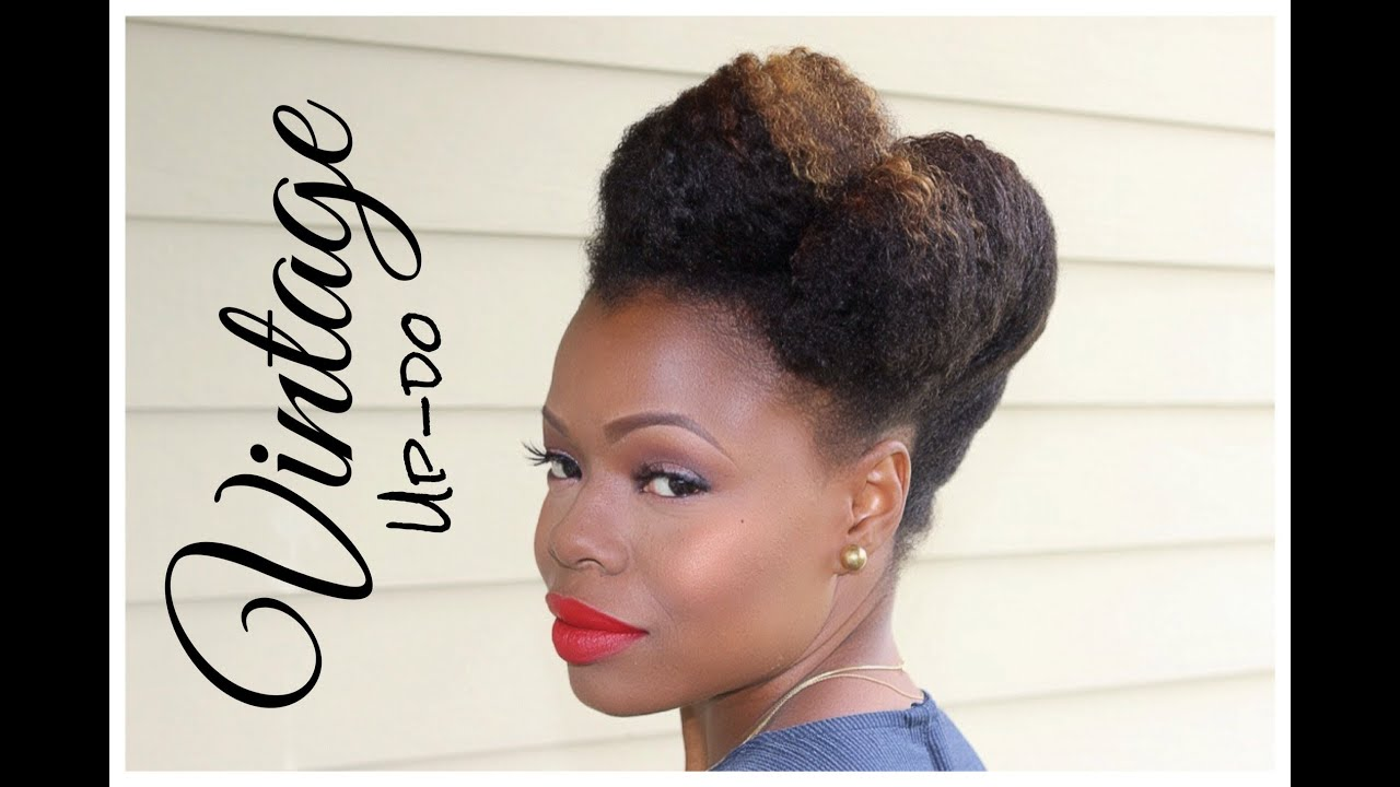 vintage up-do - natural hairstyle tutorial - youtube