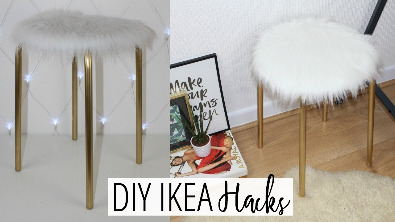 DIY FAUX FUR STOOL   EASY U0026 AFFORDABLE! | Ikea Hacks Ep. 1