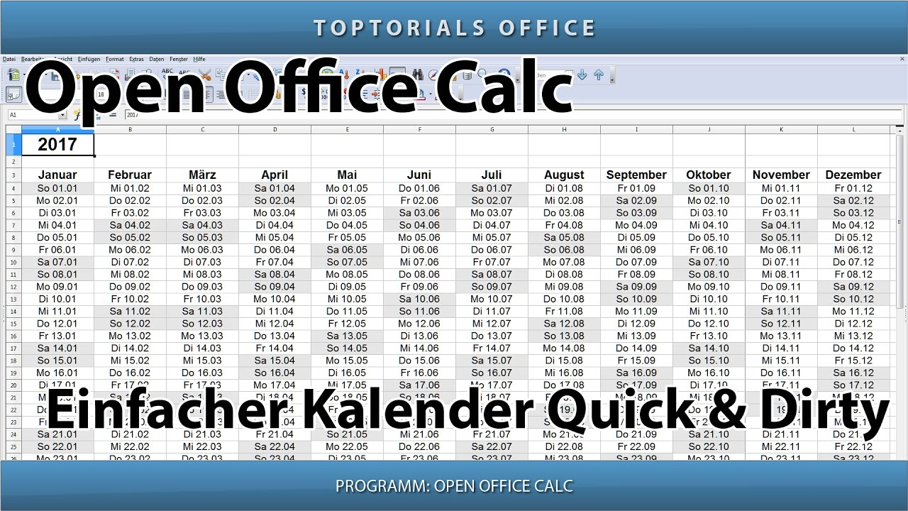 einfacher kalender quick and dirty openoffice calc youtube. Black Bedroom Furniture Sets. Home Design Ideas