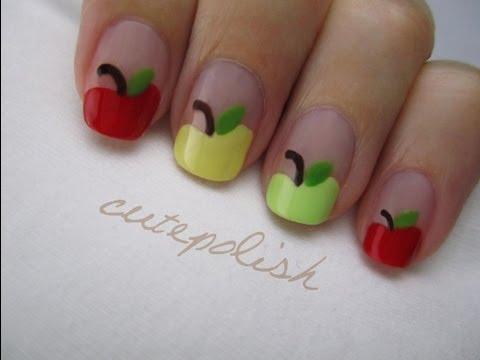 school apple nail art